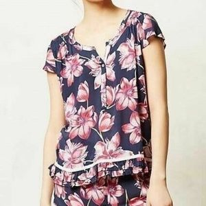E by Eloise Navy Blue Pink Floral Ruffle Blouse